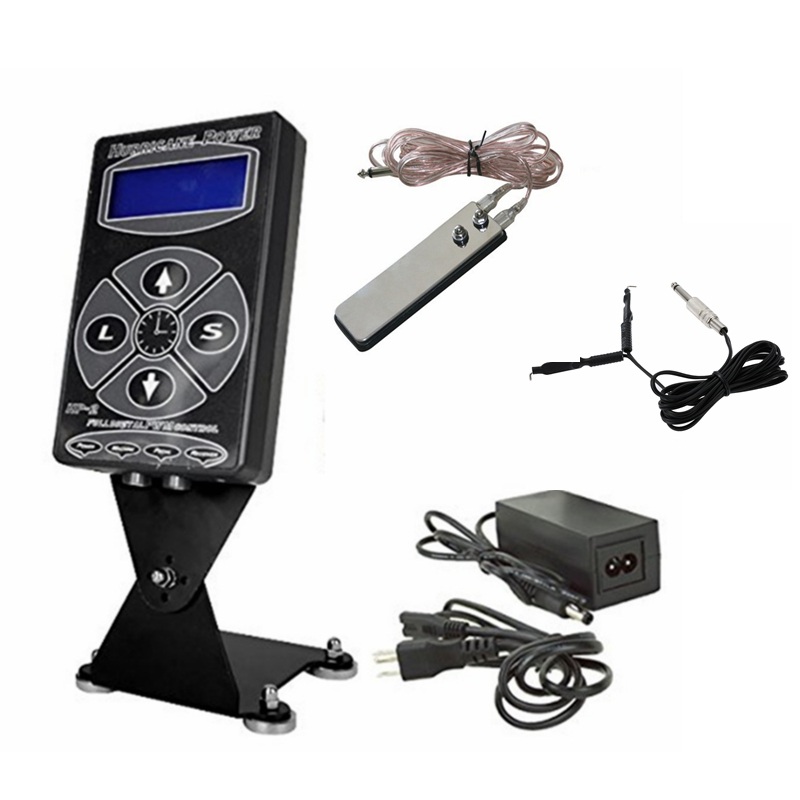 Yuelong Professional Tattoo Kit Set 1st Hurricane HP-2 Dual Digital LCD Tattoo Strömförsörjning med 1 st Klämledning 1pc Foot Pedal