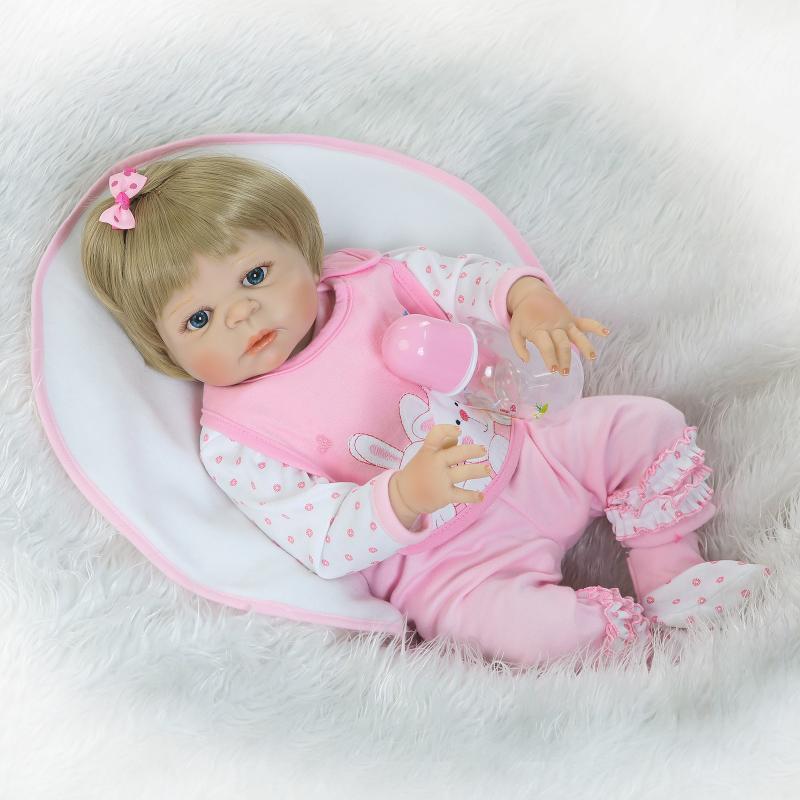 NPK 56CM Bebe Reborn Dolls Full Body Silicone simulation Blonde hair blue eyes Little Girl Baby Newborn Bonecas For kids Gift