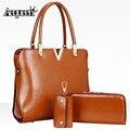 2017 New 3PCS Bag Sets Luxury Women Leather Handbag High Quality Famous Brand Shoulder Vintage Designer Tote Messenger Bag
