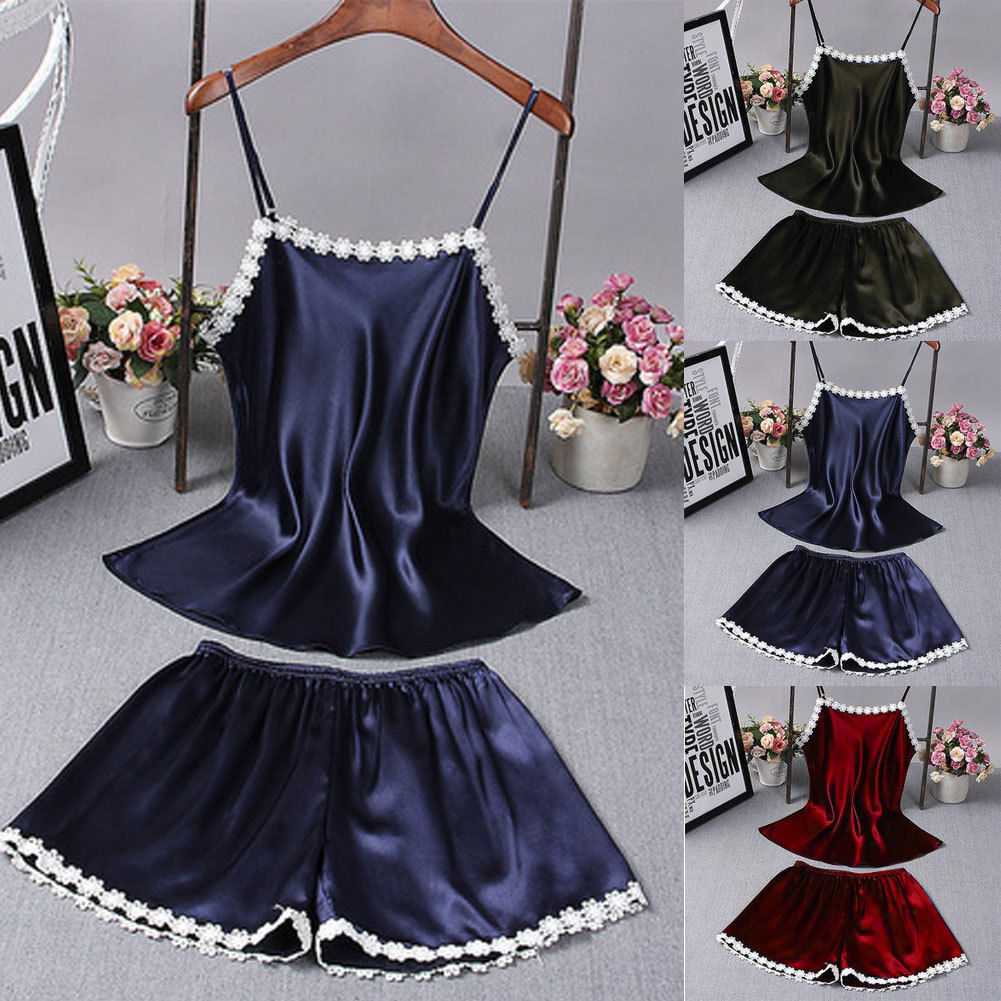 2pcs New Women Satin Lace Sleepwear