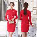 Novelty Red Formal Beauty Salon Work Wear Suits With Jackets And Skirt Professional Business Women Skirt Suits Outfits Set