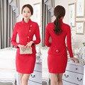 Novidade Red Formais Ternos Desgaste do Trabalho Salão de Beleza Com Casacos E Mulheres de Negócio Ternos de Saia Profissional Saia Roupas Set