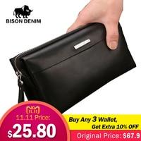 Bison Denim Men Wallet Luxury Long Clutch Handy Bag Moneder Male Leather Purse Men's Clutch Bags Zipper Mens Long Wallet N8009