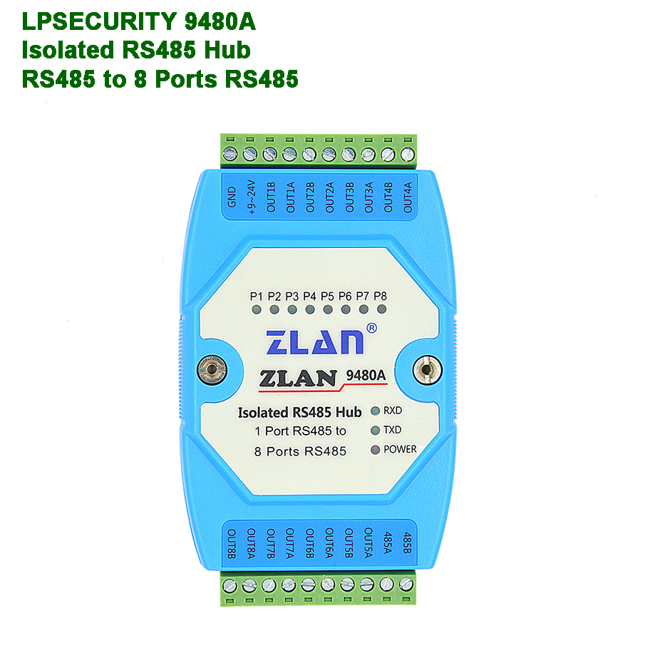 8 Channels RS485 Hub Industrial Isolation RS485 To RS485 Converter Extension Long Distance Slave ZLAN9480A Serial Device Server