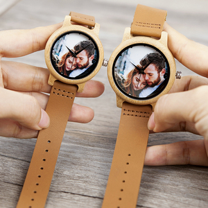 Image 2 - Creative Personality Lovers Watches UV Printing Photos Customers Bamboo Watch Customization Print OEM Great Gift for Love OEM