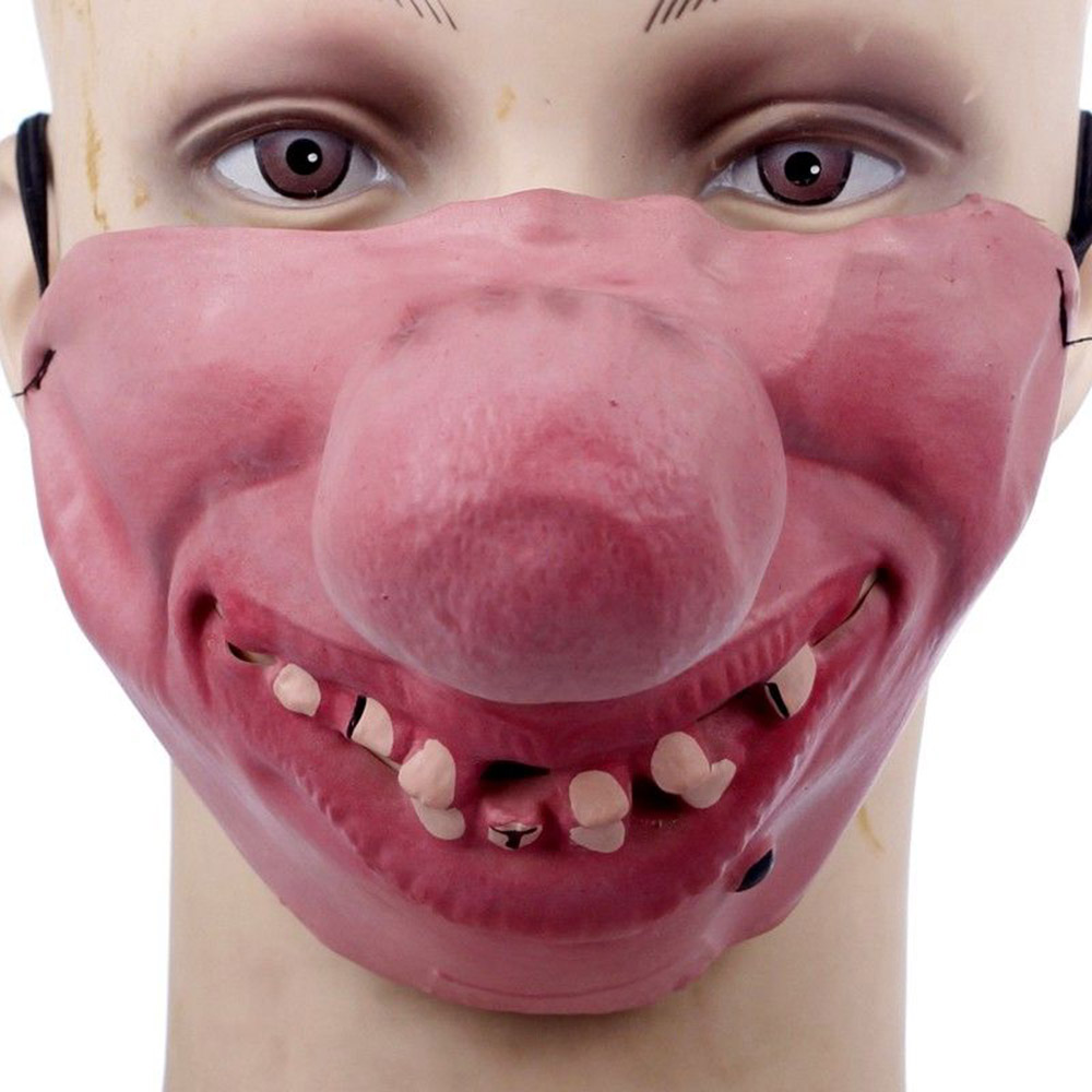 Toys & Hobbies Novelty & Gag Toys Halloween Scary Latex Mask Adult Unisex Costume Cosplay Clown Half Face Masks Pratical Jokes Toy