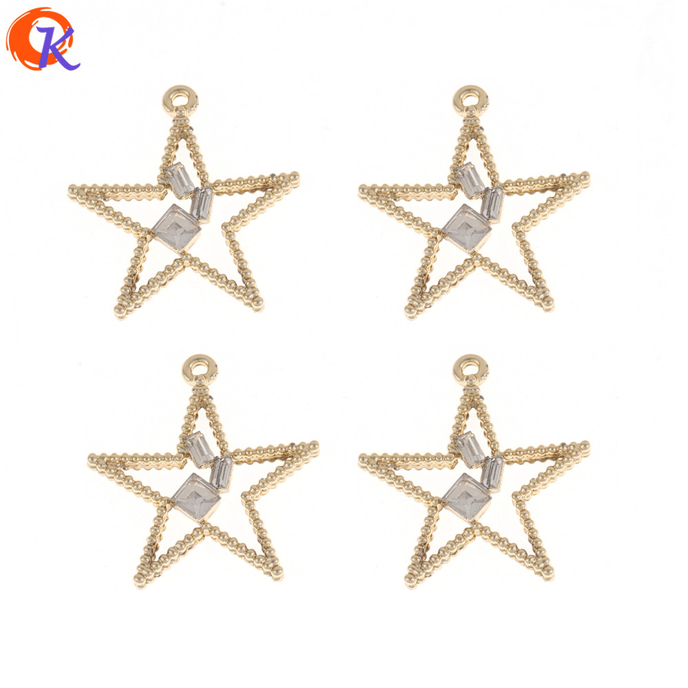 Cordial Design 50Pcs 27*27MM Earring Findings/Gold Star Shape/Hand Made Jewelry/Rhinestone Earring Parts/Jewelry Accessories