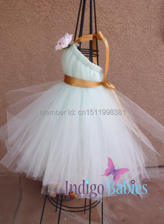 Flower Dress Weddings Dresses Tutu Mint Green Tulle Antique Gold Satin Ribbon Ivory Pink Silk In From