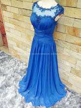 royal blue chiffon long evening dress 2015 new sexy cap sleeve party prom dresses appliques beading vestidos robe de soiree