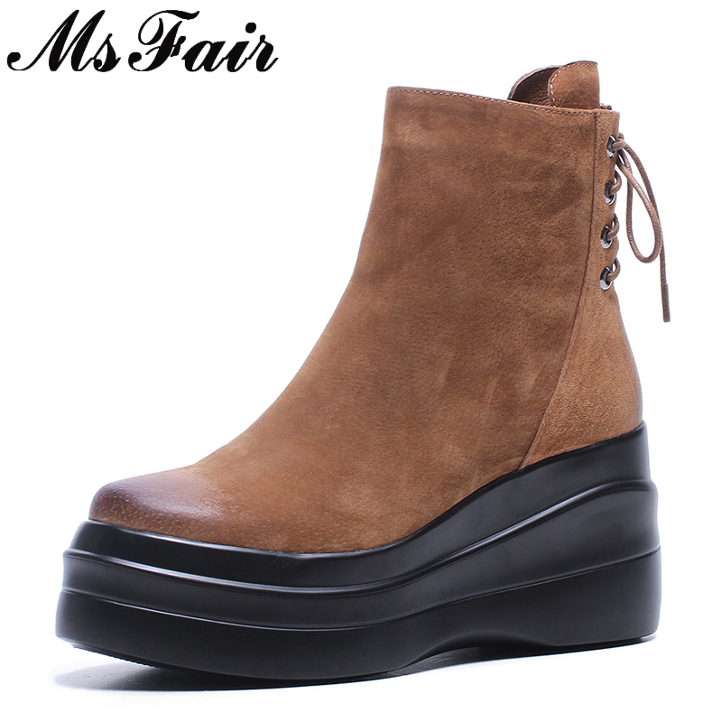 MSFAIR Women Round Toe Thick Bottom Boots Fashion Zipper Platform Ankle Boots Women Shoes Black Cross Tied Boots Shoes Woman egonery shoes 2017 new arrival women ankle boots modern round toe side zipper platform fashion boots women fashion wedges shoes