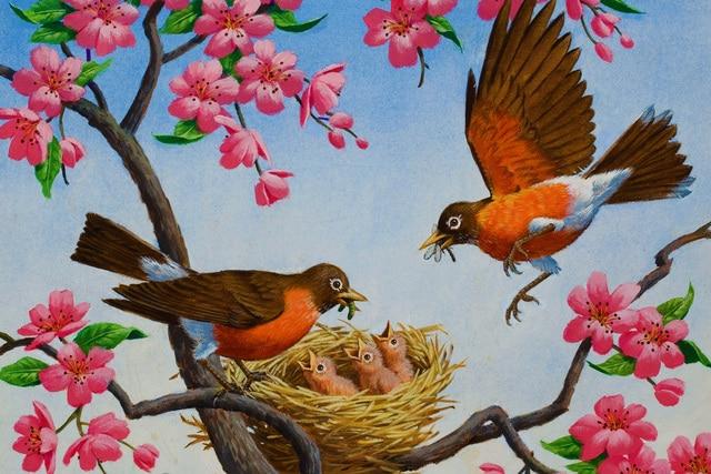 Fleurs printemps art prise oiseau fragment arthur saron for Oiseaux de jardin au printemps