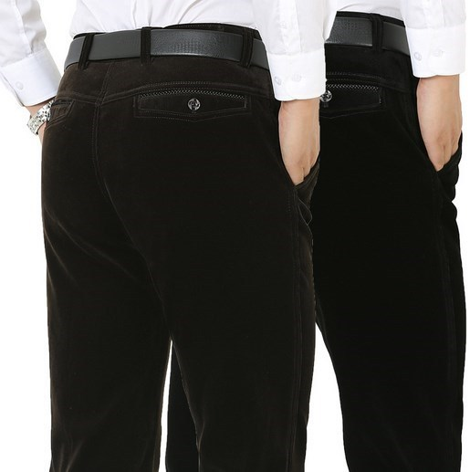 Primavera Otoño Invierno Pantalones de Pana Hombres de Negocios Informales Pantalones Rectos Gruesos Hombres de Mediana Edad Pantalon Homme Negro Caqui 38 40