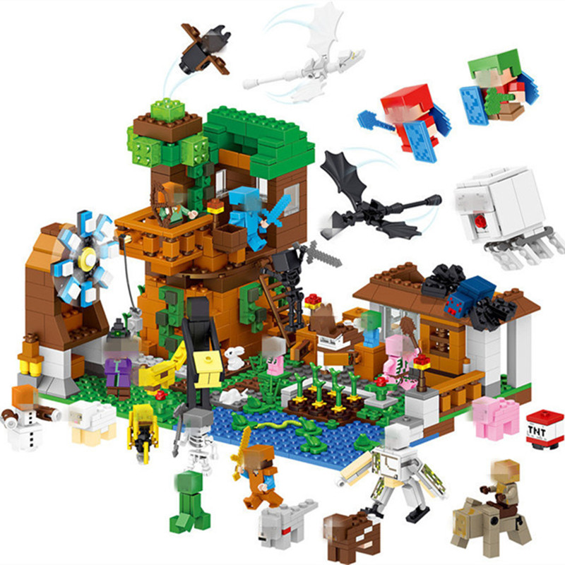 Christmas Minecraft World.New Legoings 1007pcs Minecraft Pet Village My World Diy