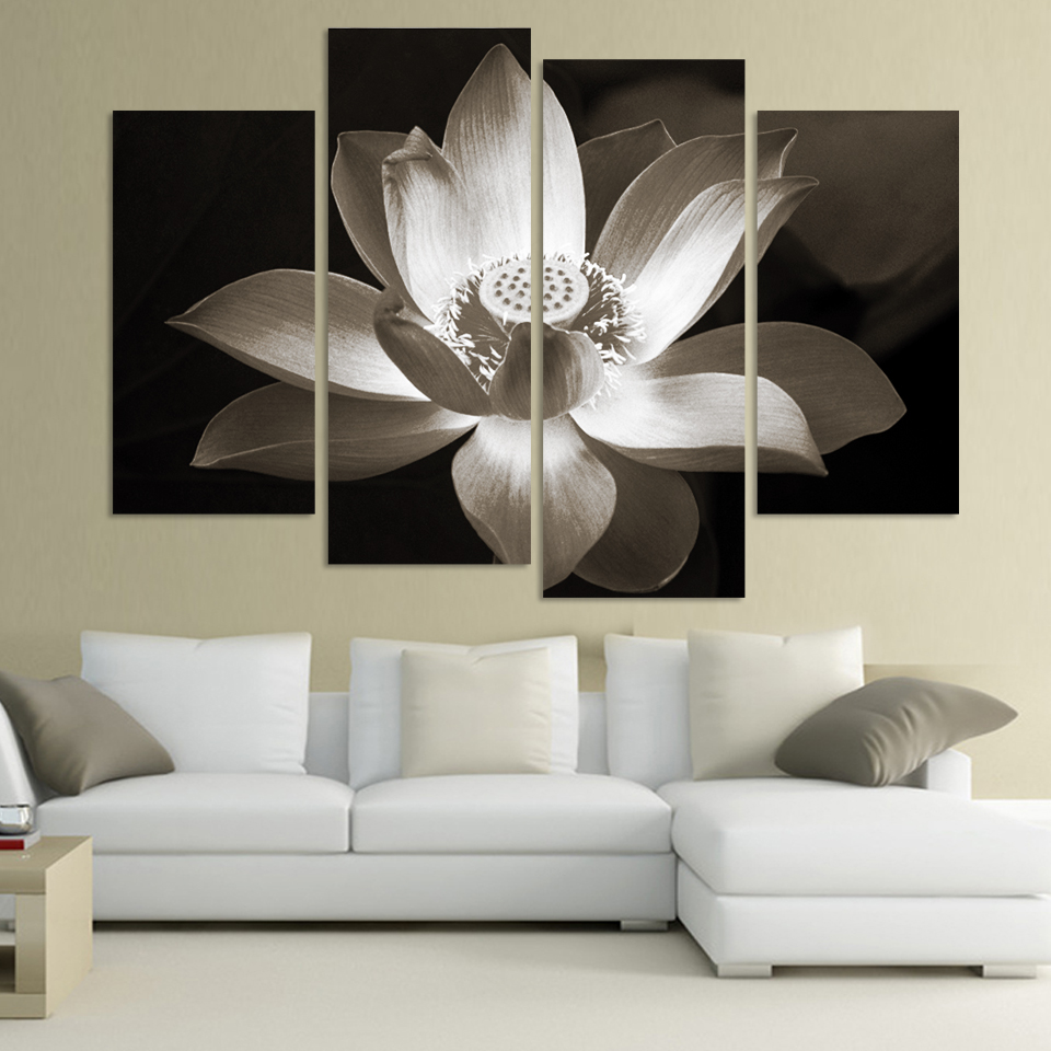 Modern wall art canvas painting 4 panel black and white lotus flower modern wall art canvas painting 4 panel black and white lotus flower modular pictures top rated wall pictures for living room in painting calligraphy from izmirmasajfo