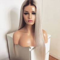 DLME Ombre Silver Grey Wig with baby hair middle part synthetic wig #2 color roots long Straight Lace Front Wigs For Black Women