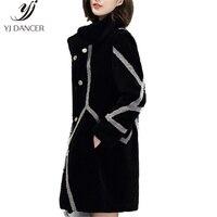 2018 New Winter Mouton Coat Real Fur Coat Female Jacket Natural Wool Overcoat Women Sheep Shearing Fur Coats Outerwear YZH541