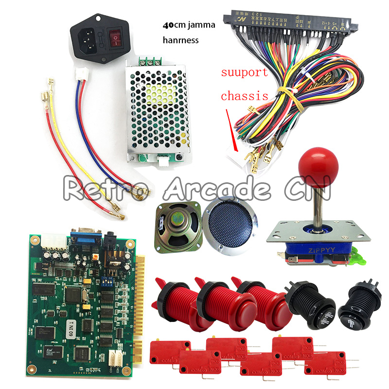 us $78 99 arcade game 1 player kit with classical 60 in 1 jamma board,power supply,speaker,zippy joystick,american push button,jamma wire in coin  for arcade jamma board machine wiring