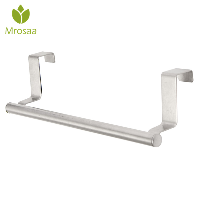 Mrosaa Stainless Steel Towel Racks Kitchen Bathroom Hanging Bar Over Door Cupboard Hanger Towel Holder Rail Single Towel Bar