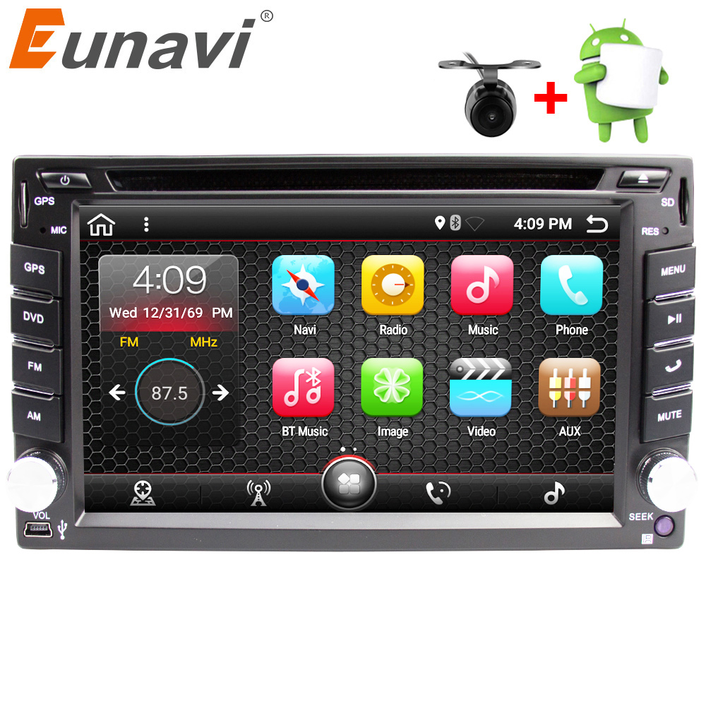 Eunavi Universal 2 Din Android 7.1 Car Dvd Player GPS+wifi+bluetooth+radio+quad Core+ddr3+Capacitive Touch Screen+car Pc+stereo android 6 0 car dvd stereo fastest 2ghz quad core capacitive multi touch double 2 din car pc cd stereo gps tv bt wifi 3g camera