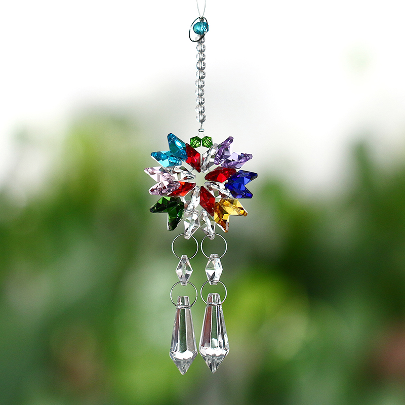 Colors Rainbow Maker Crystal Suncatcher Wedding Window Decor Hanging Pendant Home Decoration Party Decoration