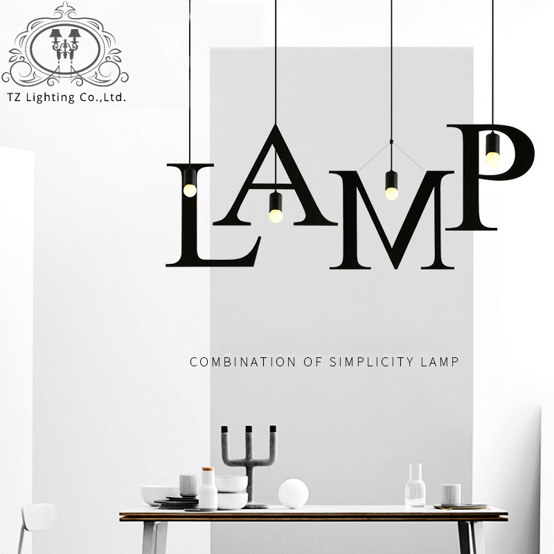 Letters Wrought Iron Vintage Pendant Lights For Home Lighting AC110 240V 30W E27 Rope Lampen Retro