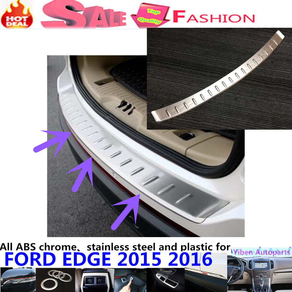 Car body external Rear Bumper trim Stainless Steel Scuff trunk lamp pedal panel frame panel hoods 1pcs For Ford EDGE 2015 2016 car styling cover detector stainless steel inner built rear bumper protector trim plate pedal 1pcs for su6aru outback 2015
