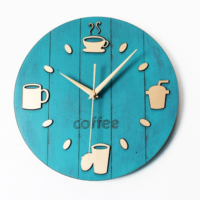New Retro Garden Leisure And Creative Coffee Cup Wall Clock Utensils Wall Wood Wall Clock Cafe Bar Saat Christmas Decorations