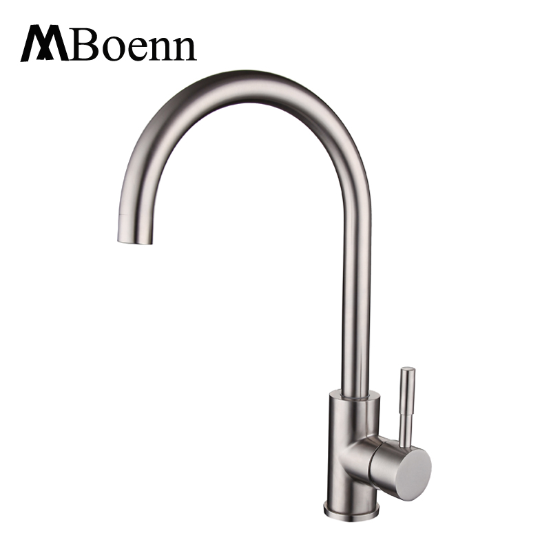 Kitchen Faucet Stainless Steel Faucet 360 Degree Rotation Single Handle Kitchen Mixer Tap Brushed Finish Water Taps Hot Cold pull out kitchen faucet black oil brushed kitchen sink mixer tap 360 degree rotation kitchen mixer taps kitchen crane