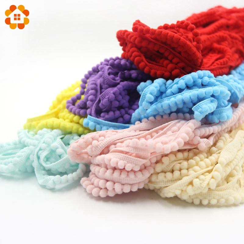 18Yards/Lot Hot Sale 5MM Pom Pom Trim Ball Fringe Ribbon DIY Sewing Accessory Lace 12 Colors For Home Party Decoration