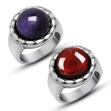 Round Design Lover's Wedding Rings for Women Men  Blue Sandstone Red Garnet Titanium Steel Couple Ring Gifts Valentine's day