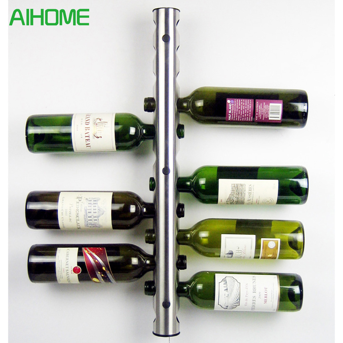 Creative Wine Rack 8 - 12 Holes Home Bar Wall Grape Wine Bottle Holder Silver Display Stand Rack Suspension Storage Organizer