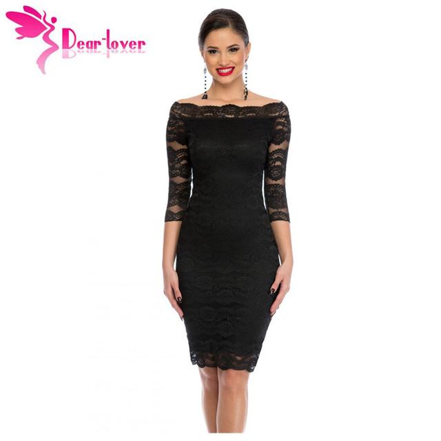 Dear-Lover Señoras de la Oficina Vestido de Fiesta Slash Nech Festoneado Fuera Del Hombro de Encaje Negro Midi Vestido de Otoño Vestido de Renda Festa LC61291