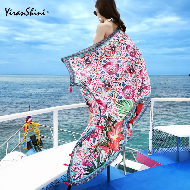 YIRANSHINI Summer Cotton Tassel Floral Print Shawls Cover Ups Bohemia Women Capes Pareo Beach Pashmina Bikini Cover Ups Swimsuit ...