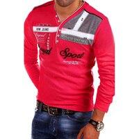ZOGAA новая футболка мужская многоцветная 2018 Модная брендовая приталенная рубашка с длинными рукавами мужские хлопковые футболки Повседневн...