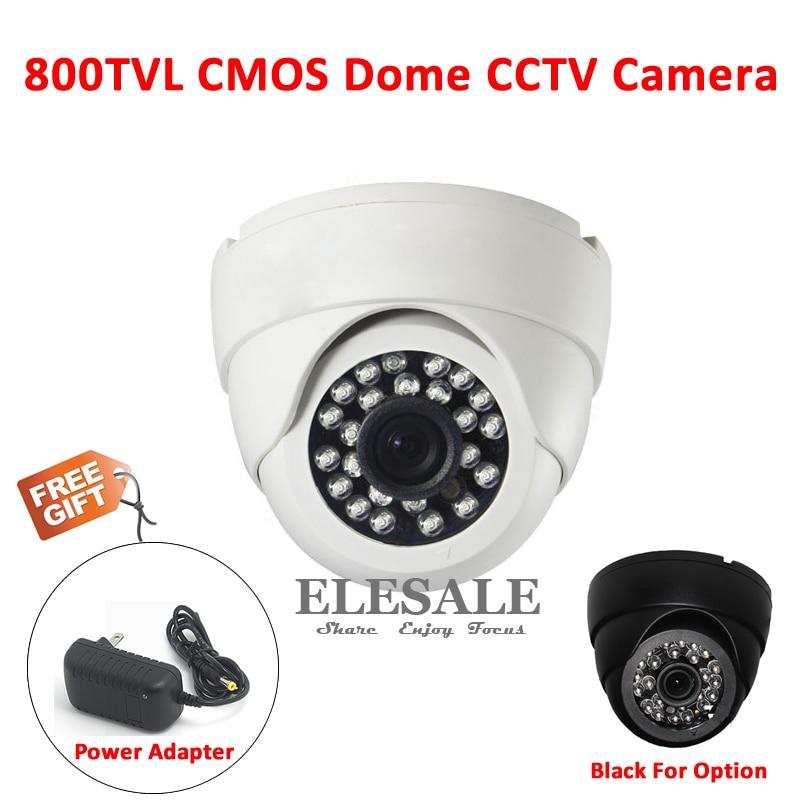 New 800TVL 1/4 CMOS Color Dome CCTV Camera 3.6mm IR Night Vision For Home Security Surveillance System + 12V Power Adapter 4pcs 12v 1a cctv system power dc switch power supply adapter for cctv system