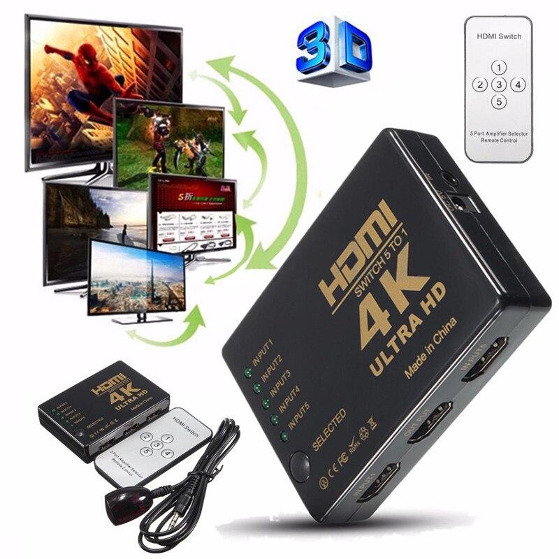 Mayitr 1Set Mini HDMI Switcher 3D 1080p 5 Port 4K HDMI Switch Switcher Selector Splitter With Hub IR Remote FOr HDTV DVD