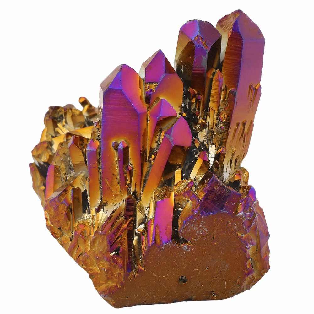 TUMBEELLUWA Purple Gold Aura Titanium Coated Natural Crystal