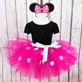 Novas crianças vestido de minnie mouse princesa traje do partido roupa infantil Polka dot roupas de bebê meninas vestidos de tutu de aniversário Cabeça