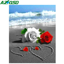 AZQSD Diamond Painting Rose Cross Stitch Embroidery Flowers Rhinestones Pictures Needlework Mosaic Full Layout