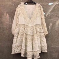 FANTFUR Luxury Runway Lace Dress for Women Sexy V Neck Hollow Out Wave Point Embroidered Perspective Gauze Dress Beige Vestidos