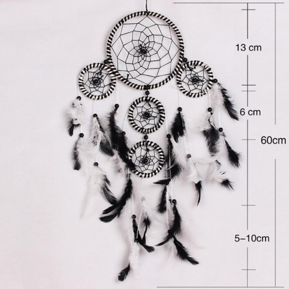 attrape rêves noir et blanc en plumes perles fil code naturel très déco tendance mode zen exotique spirituel, dimensions