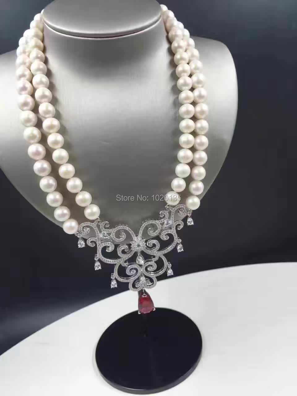 2rows 19-20inch freshwater pearl near round necklace 8-9mm  wholesale beads fashion gift red flower zircon2rows 19-20inch freshwater pearl near round necklace 8-9mm  wholesale beads fashion gift red flower zircon