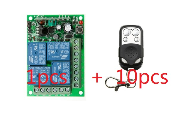 Hot sale DC12V 4CH RF Wireless Remote Control Switch System 10 transmitter & 1 receiver relay Receiver Smart Home Switch