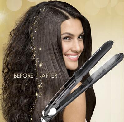 Professional Steam Ceramic Hair Straightener Flat Iron,Hair Salon Steam Styler Ionic Steamer 3 in 1 Straightner Curler Flip up