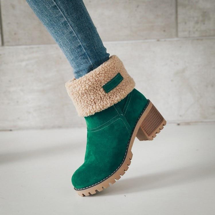 Mujer 35 Tobillo gris Gamuza De Las marrón verde 43 Negro Mujeres Fondo Botas Moda Grueso Zapatos Piel naranja Tamaño Invierno Caliente Plataforma BIq4xwZn