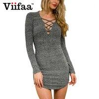 Viifaa Bodycon Sexy Lace Up Dress Dark Grey Deep V Neck Club Party Dresses Autumn Long