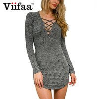 Viifaa Bodycon Sexy Lace Up Dress Dark Grey Deep V Neck Club Party Dresses Autumn Long