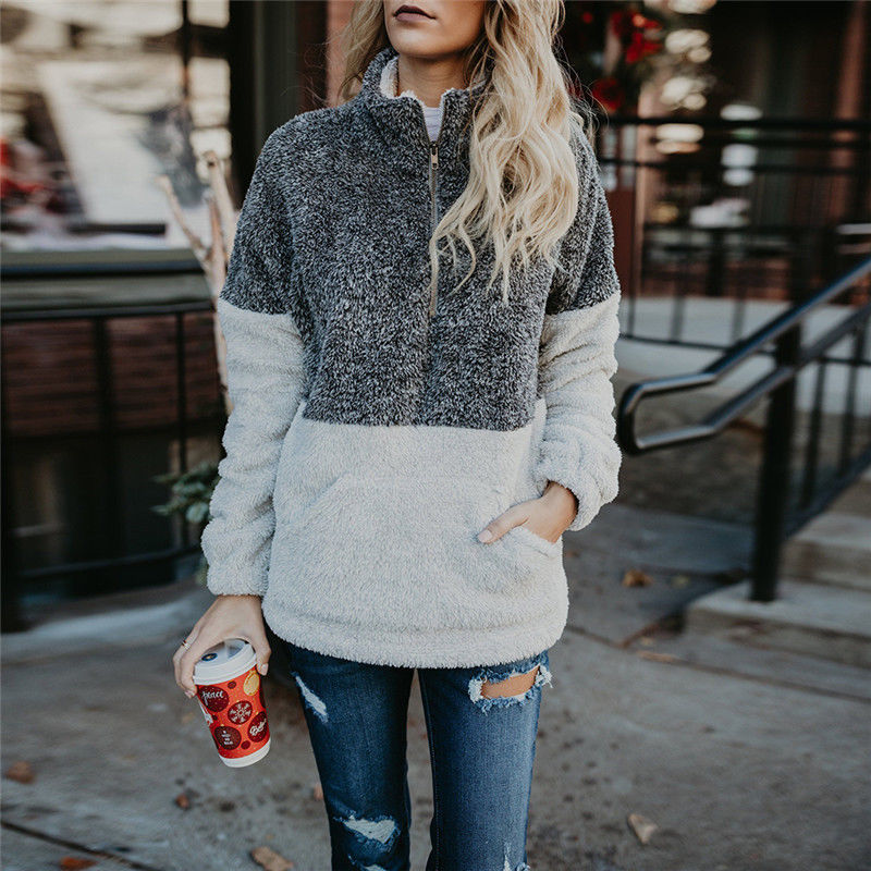 Zipper Up Stand Collar Sweaters Women Pullovers Autumn Winter Warm Plush Loose Cotton Soft Long Sleeve Female Coat Jacket