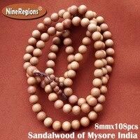 8 мм x 108 шт. природные Аутентичные майсур индийского сандала бусы, браслет женщин дерева, ювелирные браслеты ручной орнамент