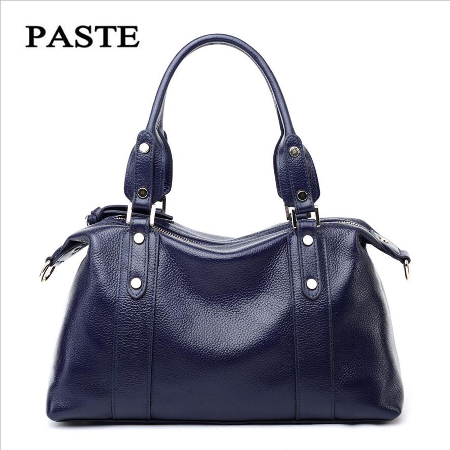 PASTE The First Layer of Leather Handbags 2017 New European and American Style Shoulder Messenger Bag Leather Bag Leather Bag famous brand top leather handbag bag 2018 new big bag shoulder messenger bag the first layer of leather hand bag
